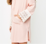 Hooded Lace Cuff Dress