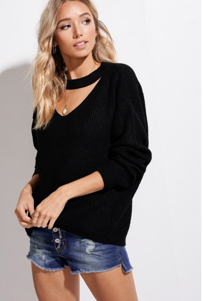 Black Cutout Sweater