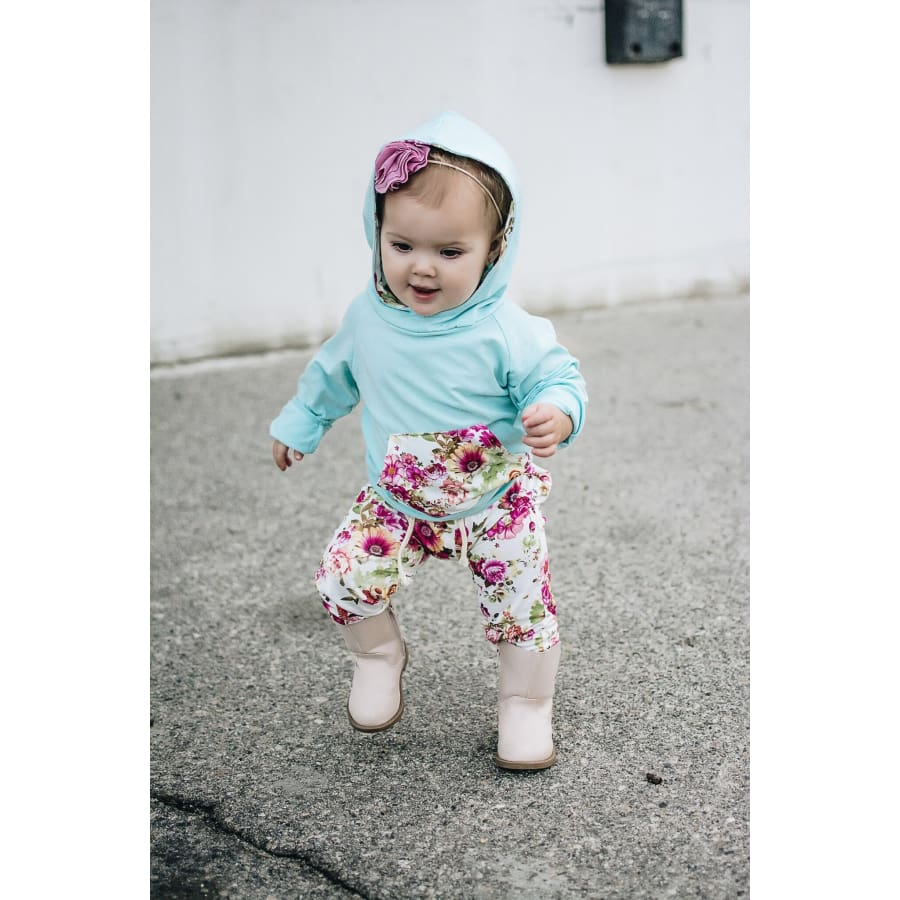 Abby Floral Jogger Sets - Sky Blue / 4-6 Months