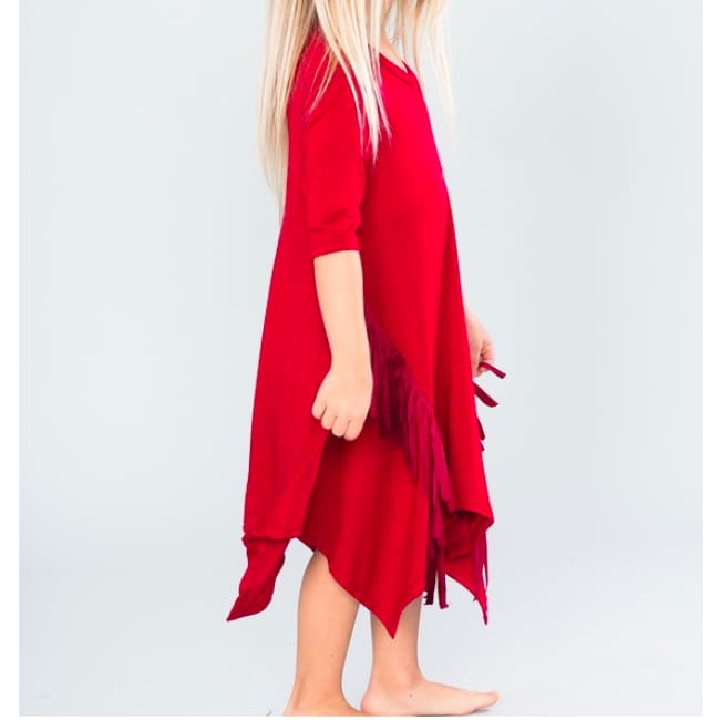 Amaya Tunic Dress With Tie Dye Fringe