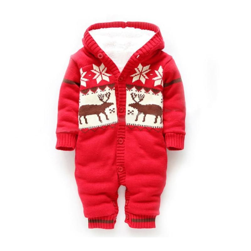 Baby Winter Thick Reindeer Bodysuit Fleece Lined - Red / 0-6M