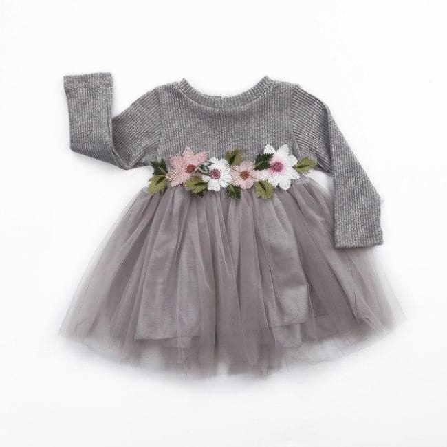 Cute Floral Long Sleeve Sweater Dresses - Gray / 6M