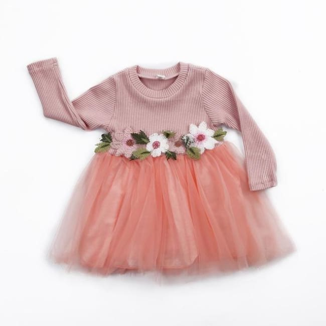 Cute Floral Long Sleeve Sweater Dresses - Pink / 6M