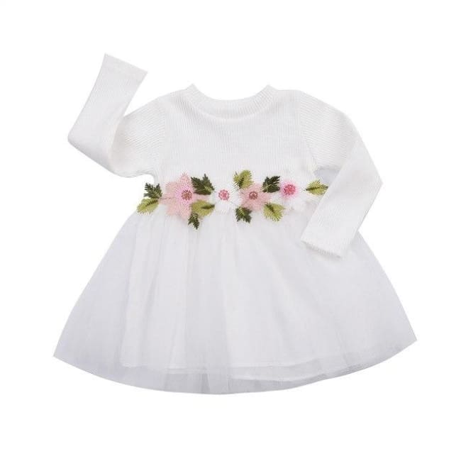 Cute Floral Long Sleeve Sweater Dresses - White / 6M