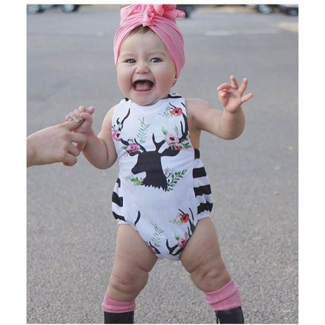 Deer Floral Black & White Romper