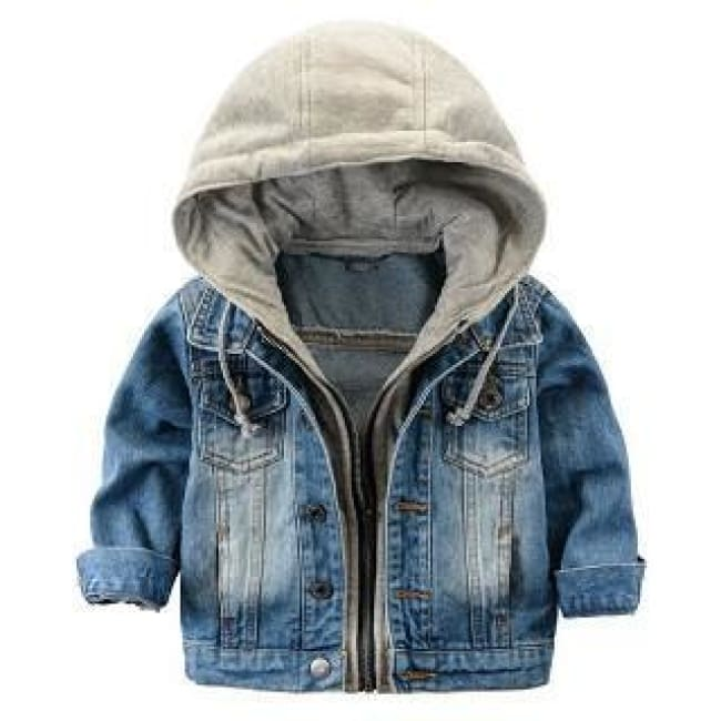 !denim Hooded Jean Jackets - Blue Jean / 3T