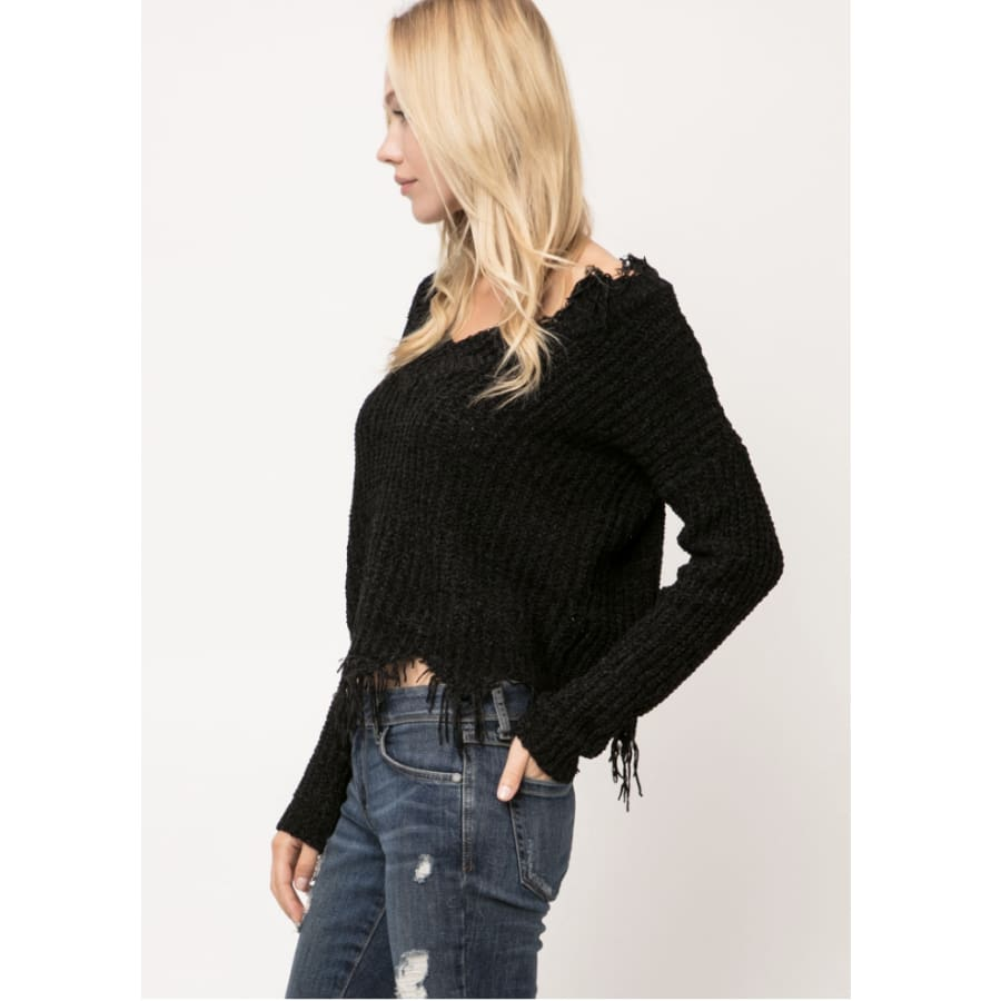 Distressed Chunky Knit Sweater
