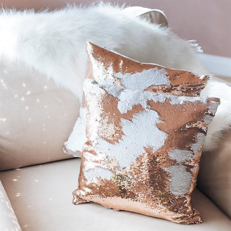 Double Color Sequin Pillow Cases - Champagne & White