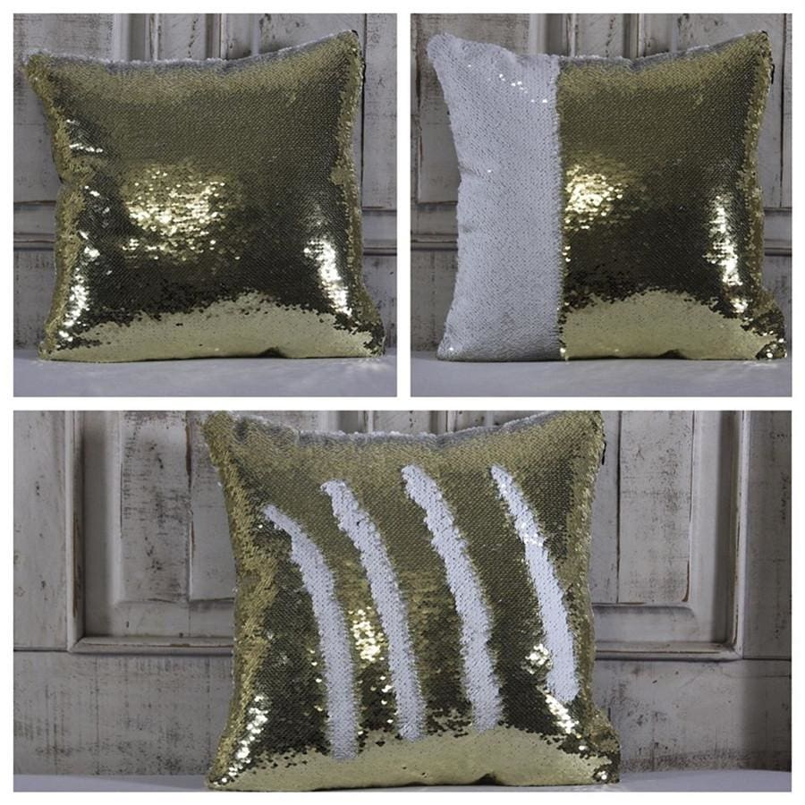 Double Color Sequin Pillow Cases - Gold & White
