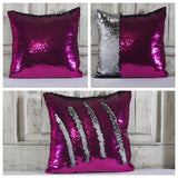 Double Color Sequin Pillow Cases - Hot Pink & Silver