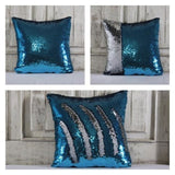 Double Color Sequin Pillow Cases - Light Blue & Silver