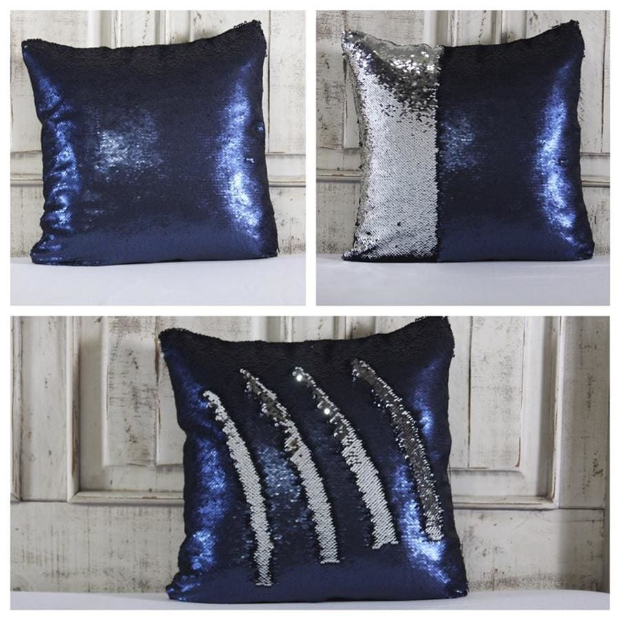 Double Color Sequin Pillow Cases - Navy & Silver