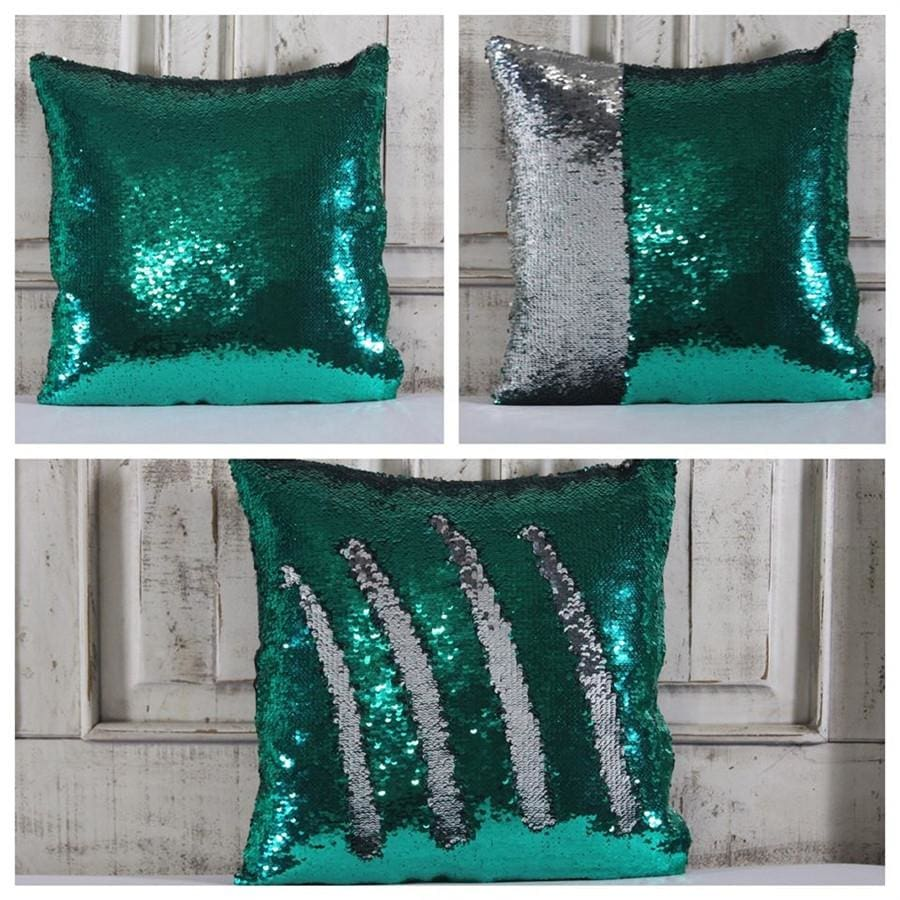 Double Color Sequin Pillow Cases - Teal & Silver
