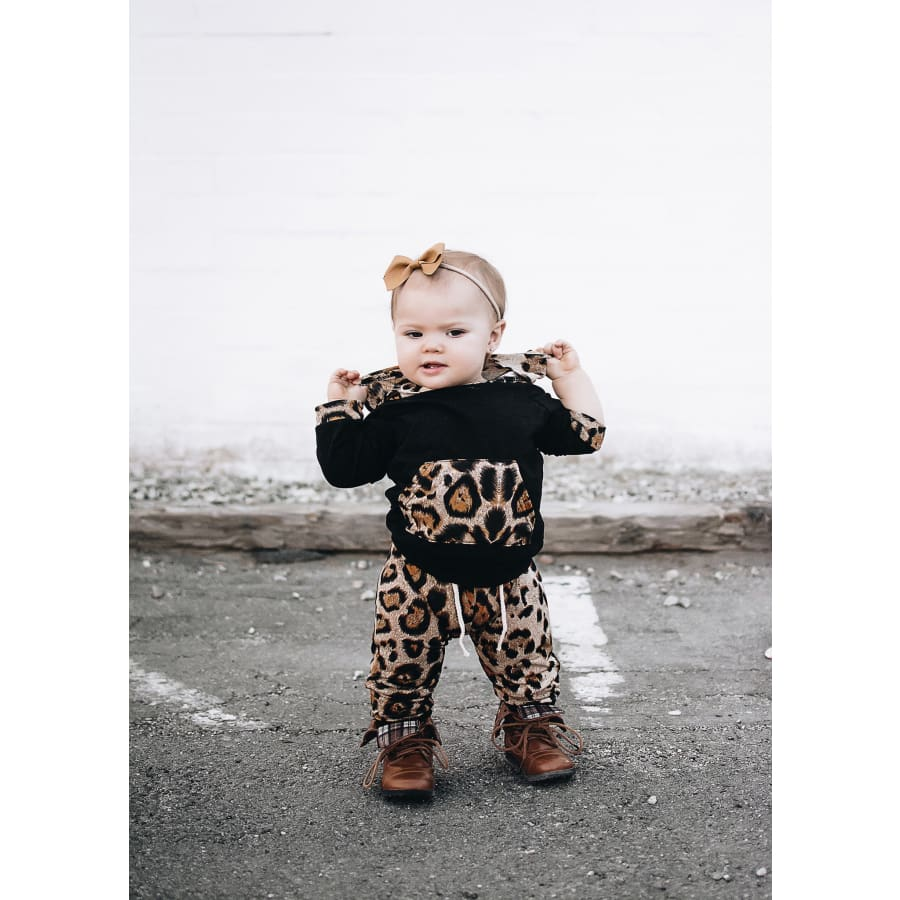 Fierce Leopard Girl Hooded Jogger Set - Black / 4-6 Months