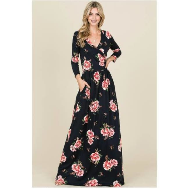 Long Sleeve Navy Floral Maxi Dress - Dress