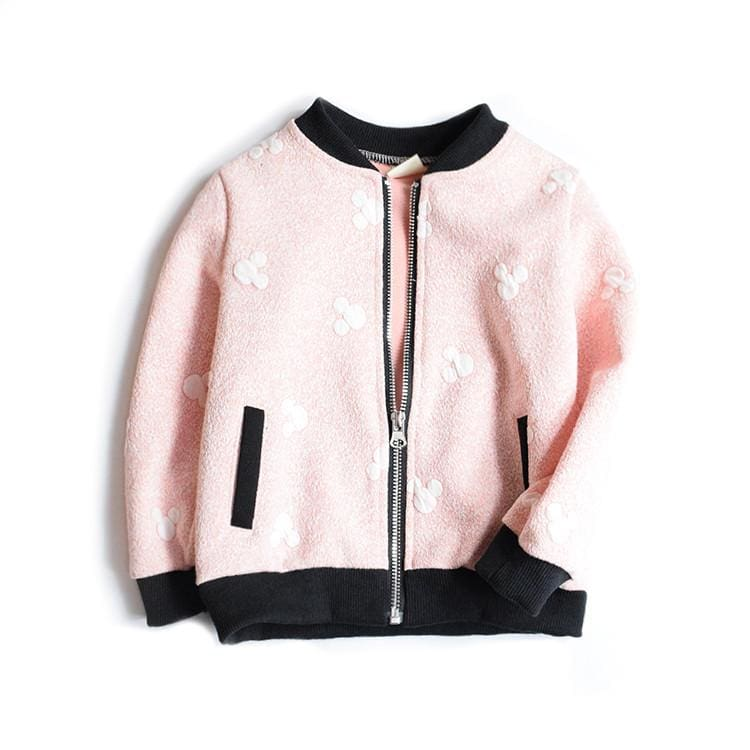 Mickey Mouse Grey & Pink Zip Up Bomber Jackets