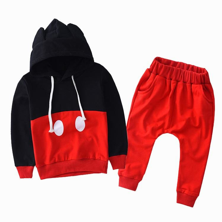 Minimalist Mickey Jogger 2 Pc Suit - Blackred / 3T
