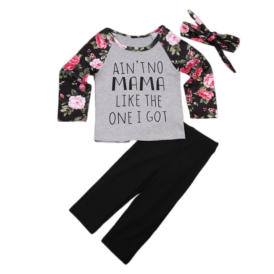 No Mama 3 Piece Set With Matching Headband Girls