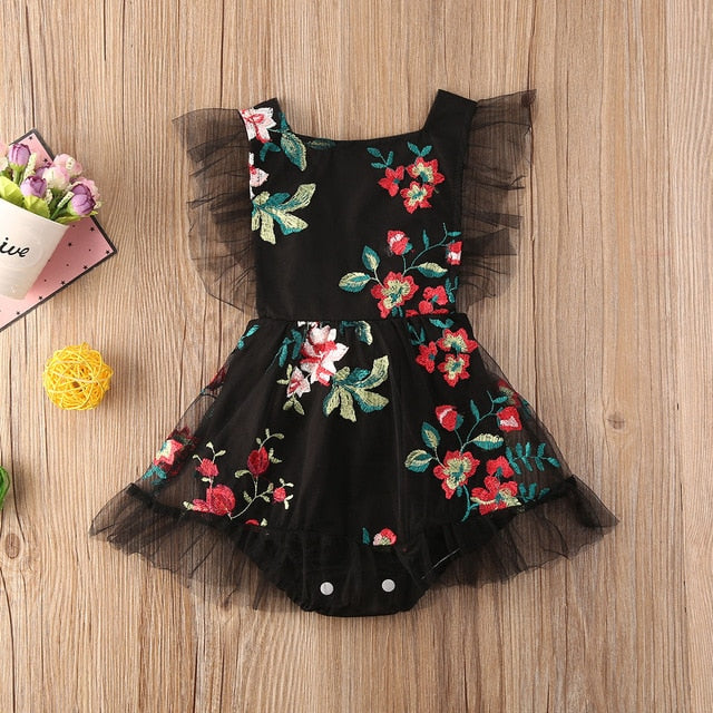Lily Embroidered & Lace Sleevless Floral Rompers