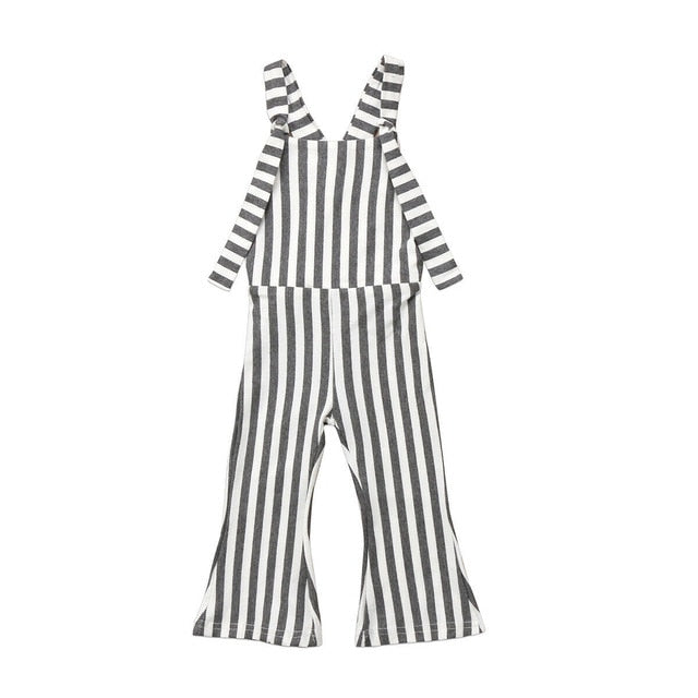Bell Bottoms Striped Jumpsuit - Grey