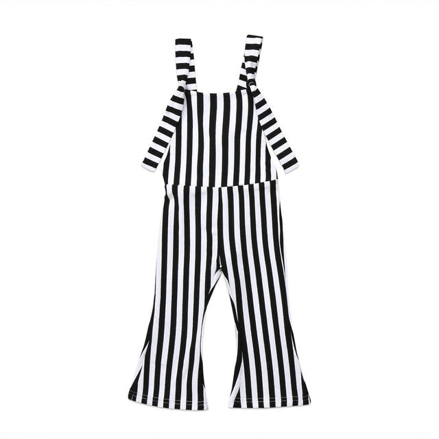 Bell Bottoms Striped Jumpsuit - Black