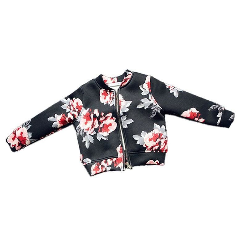 Sophie Floral Girls Bomber Jackets - Black / 4T