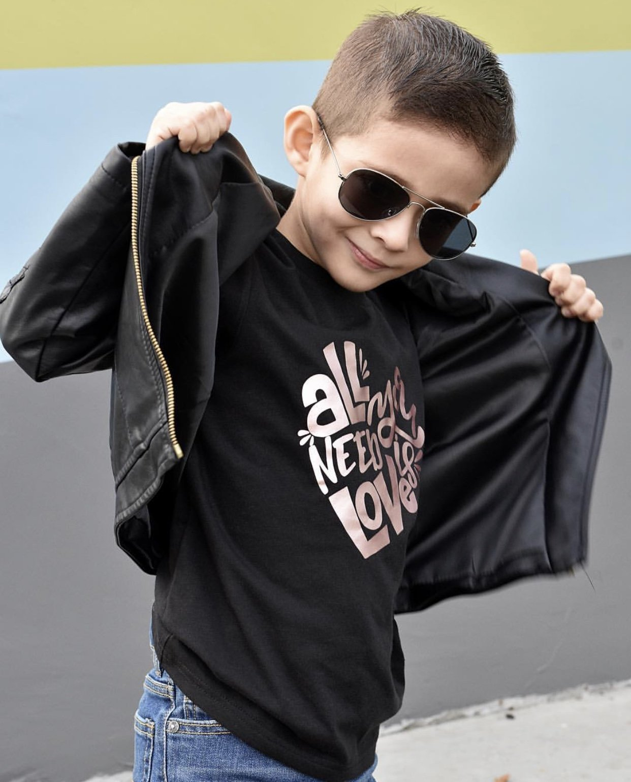kids leather unisex jacket