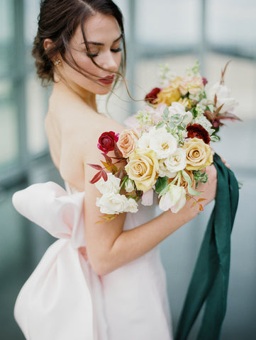 Bride Holding Bouquet with Silk Ribbon from The Lesser Bear, Florals State and Arrow, Photography Jenny Haas and Design Auburn and Ivory Creative