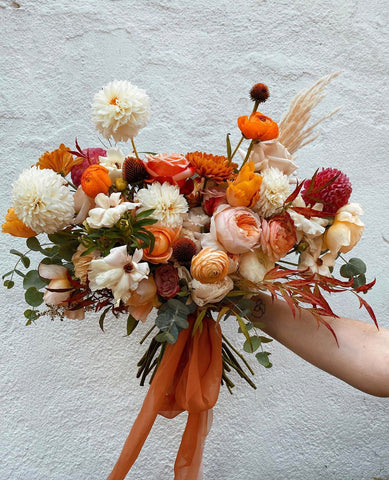 Bouquet by Moss and Meadow Designs with silk ribbon by The Lesser Bear