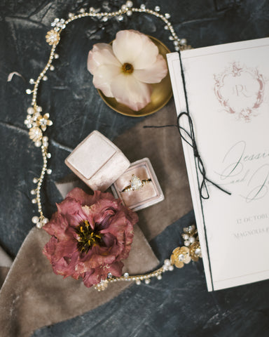 Parisian Inspired wedding as featured on Martha Stewart Wedding. Velvet Ribbon and Hand spun Twine by The Lesser Bear Invitation by Auburn and Ivory Creative Photo by Henry Photography