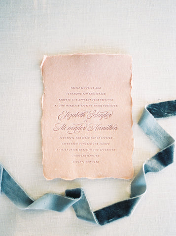 Silk Velvet Ribbon in Blue by The Lesser Bear, Paper goods by CheerUp Press Styling Auburn and Ivory and Photo by Henry Photography