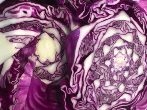 Sliced Red Cabbage for use in naturally dyeing easter eggs