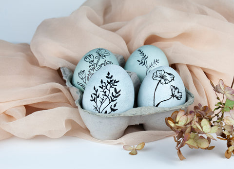 Naturally Dyed Blue Easter Eggs with black botanical drawings