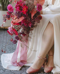 Micro Wedding by Britlyn Simone Floral  and Andrea Jonc Photography with naturally dyed silk ribbon by The Lesser Bear