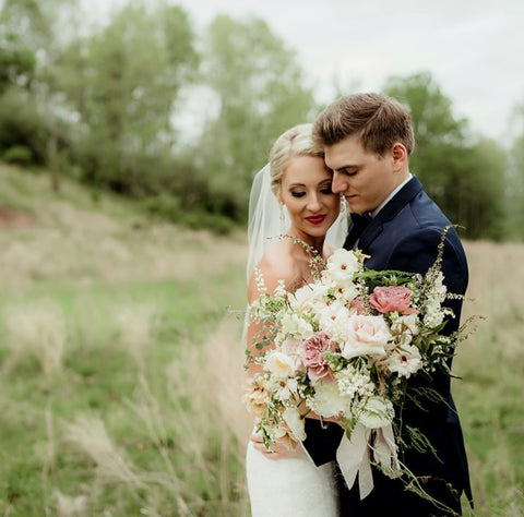 Real Wedding: Florals by Passiflora Studio, Photo by Ashly Collins and Silk Ribbon by The Lesser Bear