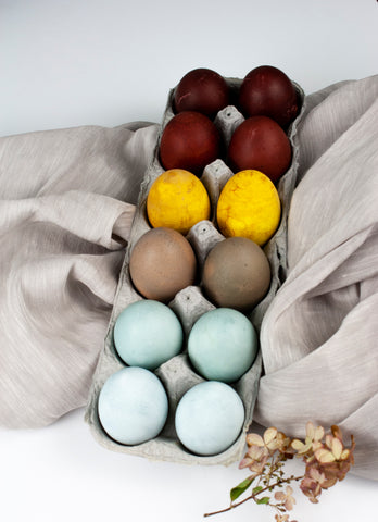 Naturally Dyed Easter Eggs in Shades of Blue, Grey, Yellow and Maroon by The Lesser Bear