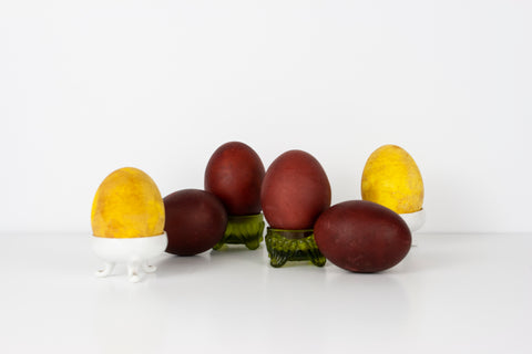 Yellow and Brown/Maroon Naturally Dyed Eggs by The Lesser Bear