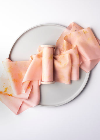 Light Pink Eco Print Naturally Dyed Silk Ribbon by The Lesser Bear