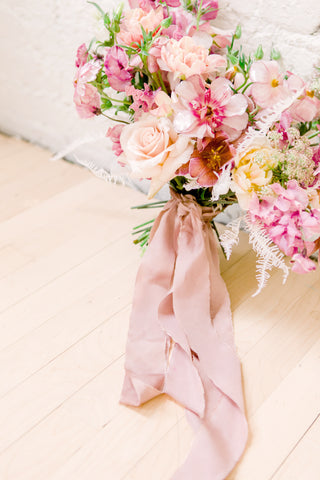 Crepe de Chine Silk Ribbon by The Lesser Bear on a bouquet by Bear Roots Floral