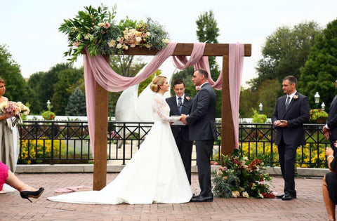 Wooden Wedding Arbor with Draped Mauve Silk Gauze at Franklin Park Conservatory