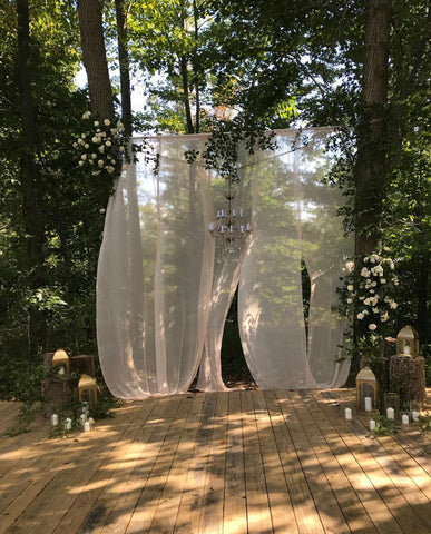 Billowing Silk Gauze Ceremony Backdrop by The Lesser Bear and Eco Flora