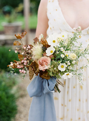 Habotai Silk Ribbon in Blue, naturally dyed by The Lesser Bear, Bouquet by Old Slate Farm photo by Jenna Powers