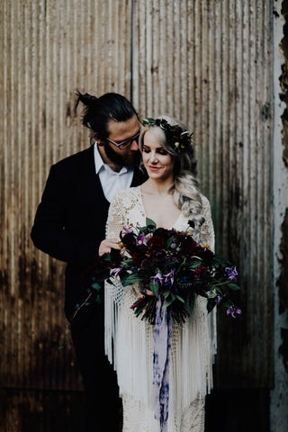 Bride and groom with Mottled Purple Silk Ribbon in Boho Wedding