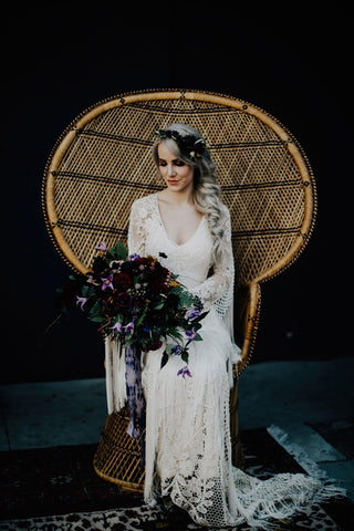 Boho bride with silk ribbon and macrame dress