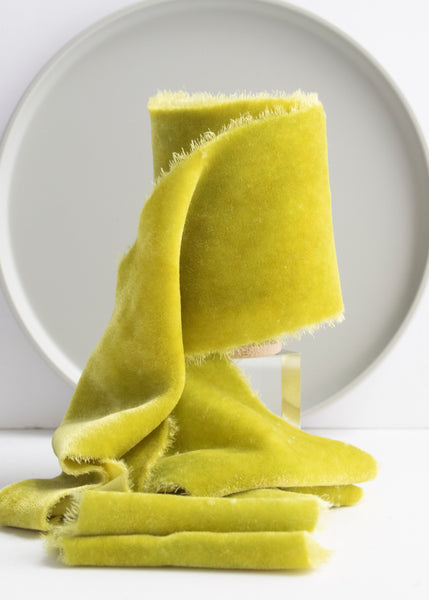 Absinthe yellow green silk velvet ribbon naturally dyed by The Lesser Bear