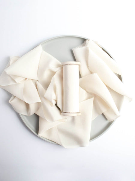 Antique White Naturally Dyed Crepe de Chine White Silk Ribbon Wedding Ribbon The Lesser Bear