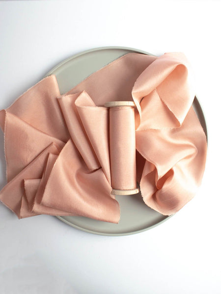 Blossom Pink Silk Ribbon in Habotai, Naturally Dyed from The Lesser Bear