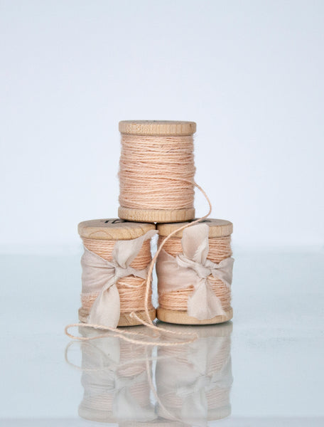 Soft Pink Silk/Wool Twine, Hand Spun and Naturally Dyed. from The Lesser Bear