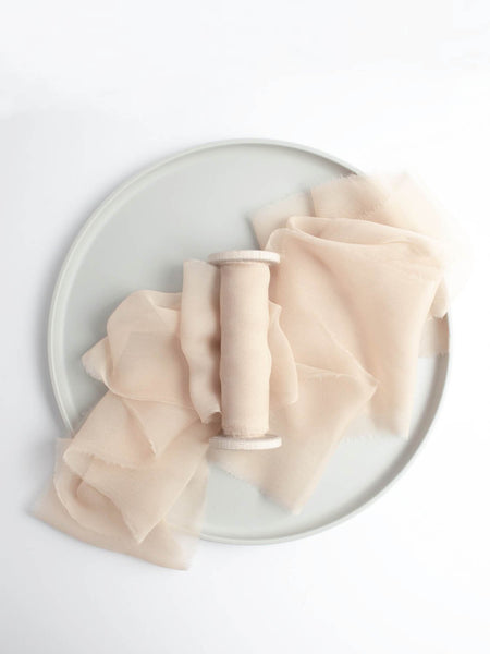 Champagne Naturally Dyed Gauze Gold Pink Silk Ribbon Wedding Ribbon The Lesser Bear