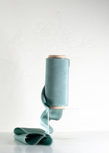 Cove Teal Silk Ribbon in Crepe de Chine from The Lesser Bear